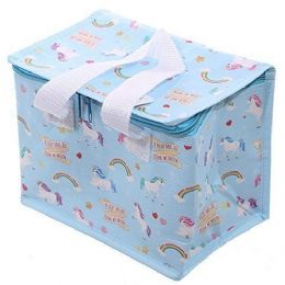 Unicorn Design Blue Thermal Insulated Cooler Lunch Bag Cool Bag Box with Handles